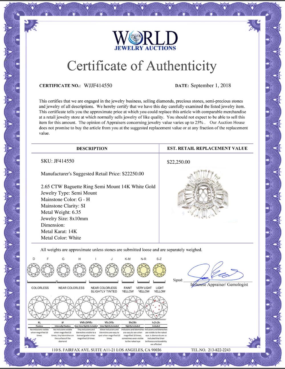 Lot 4058: 2.65 CTW Diamond Semi Mount Ring 14K White Gold - REF-296K3W