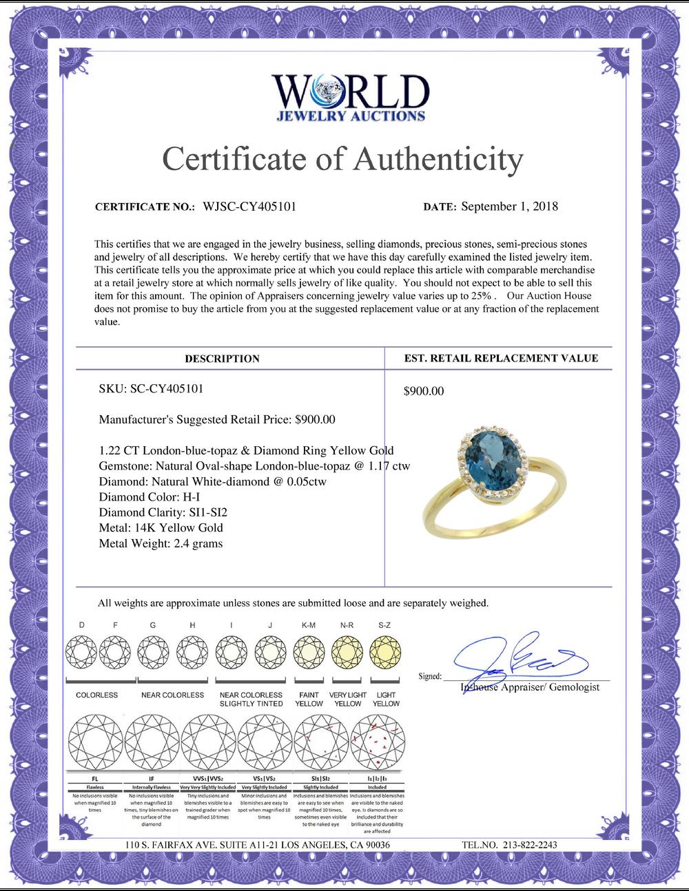 Lot 4065: Natural 1.22 ctw London-blue-topaz & Diamond Engagement Ring 14K Yellow Gold - REF-27A3V