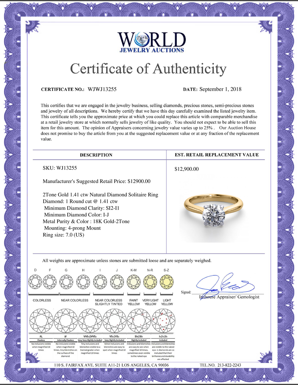 Lot 4066: 18K 2Tone Gold 1.41 ctw Natural Diamond Solitaire Ring - REF-463N6R-WJ13255