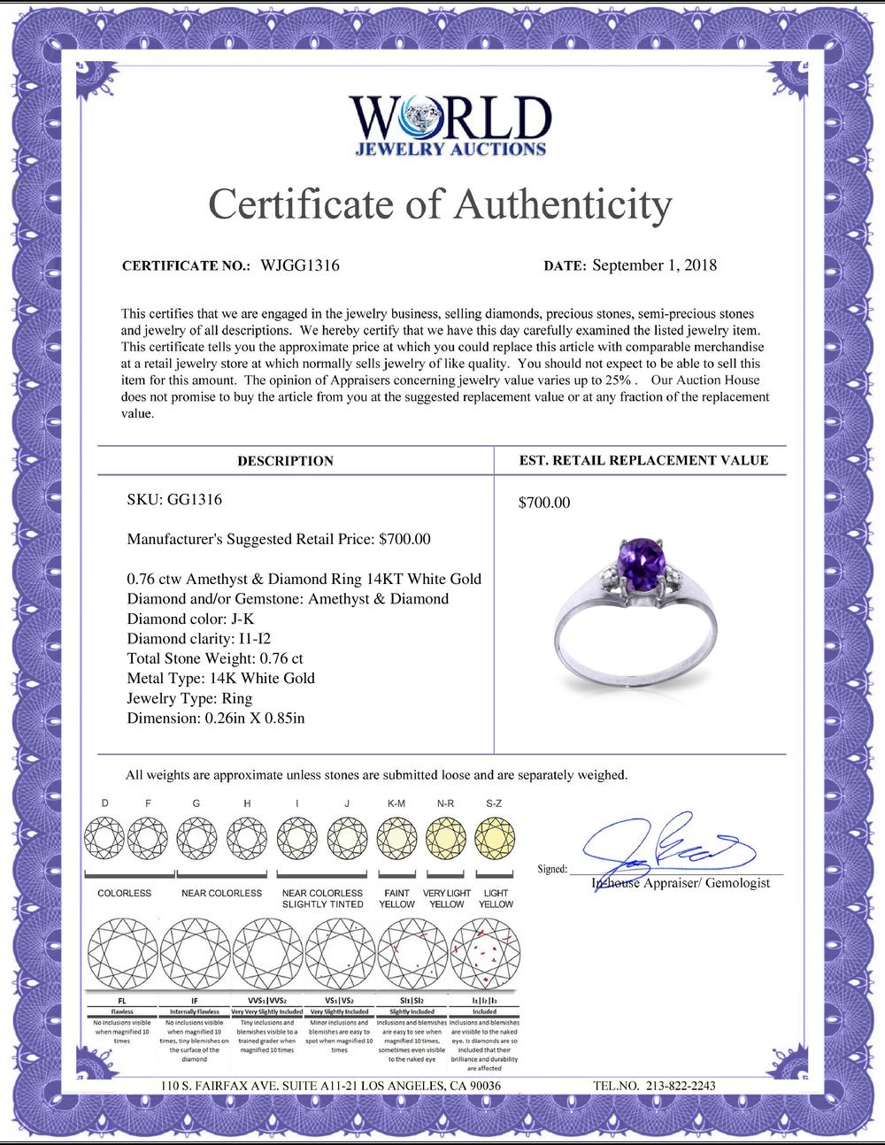Lot 4069: Genuine 0.76 ctw Amethyst & Diamond Ring Jewelry 14KT White Gold - REF-20R8P
