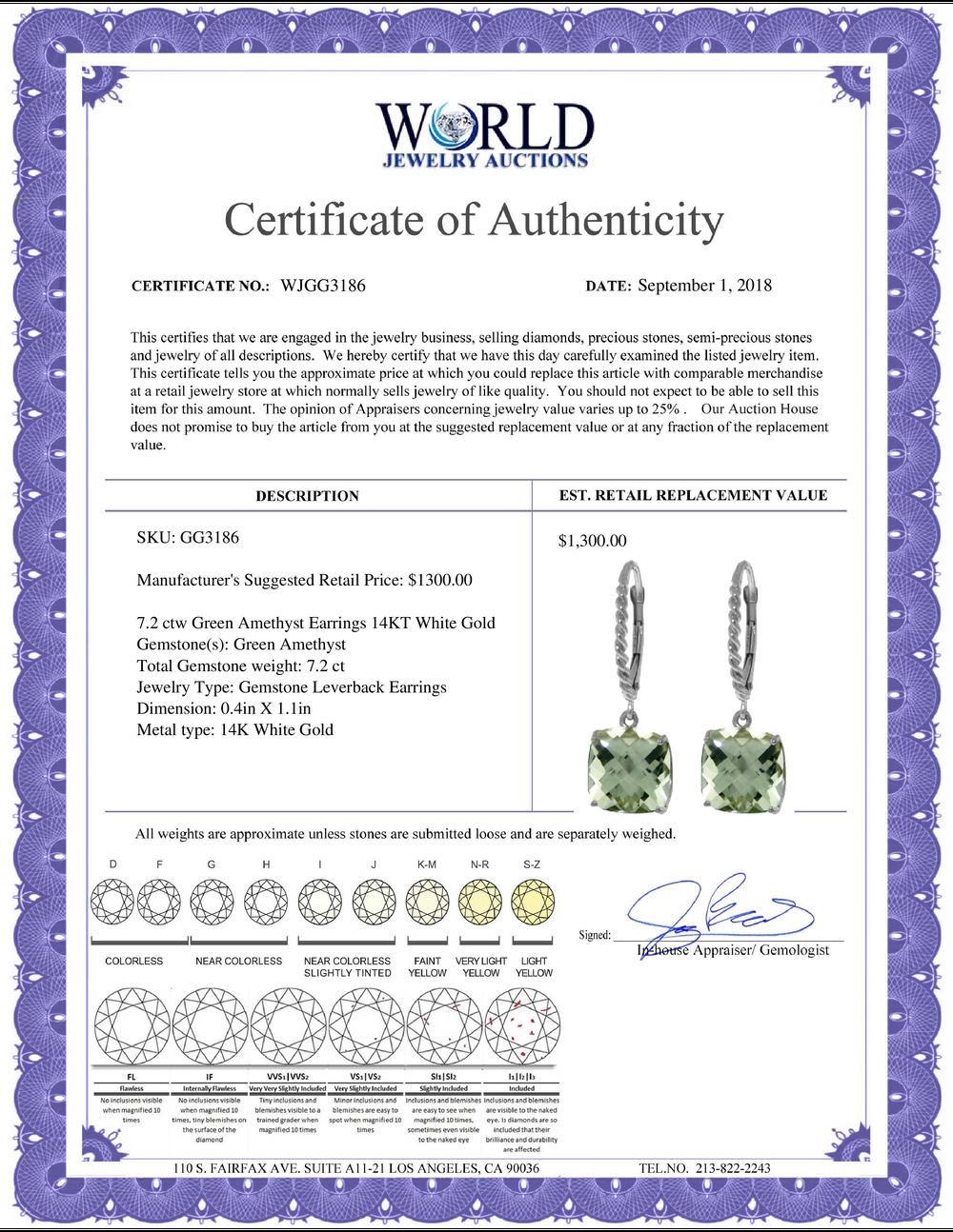 Lot 4076: Genuine 7.2 ctw Green Amethyst Earrings Jewelry 14KT Rose Gold - REF-42T7A