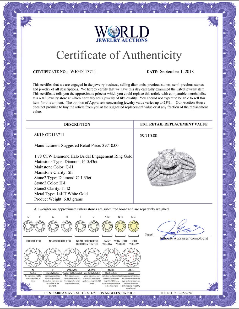 Lot 4085: 1.78 CTW Diamond Halo Bridal Engagement Ring 14KT White Gold - REF-247W5K