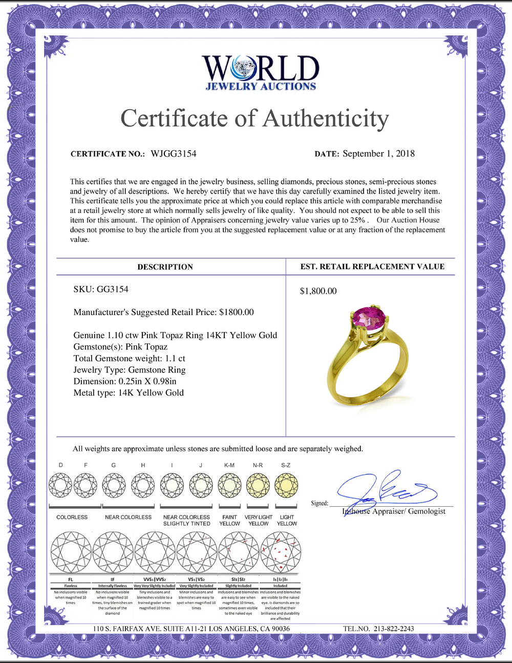 Lot 4083: Genuine 1.10 ctw Pink Topaz Ring Jewelry 14KT Yellow Gold - REF-57M6T
