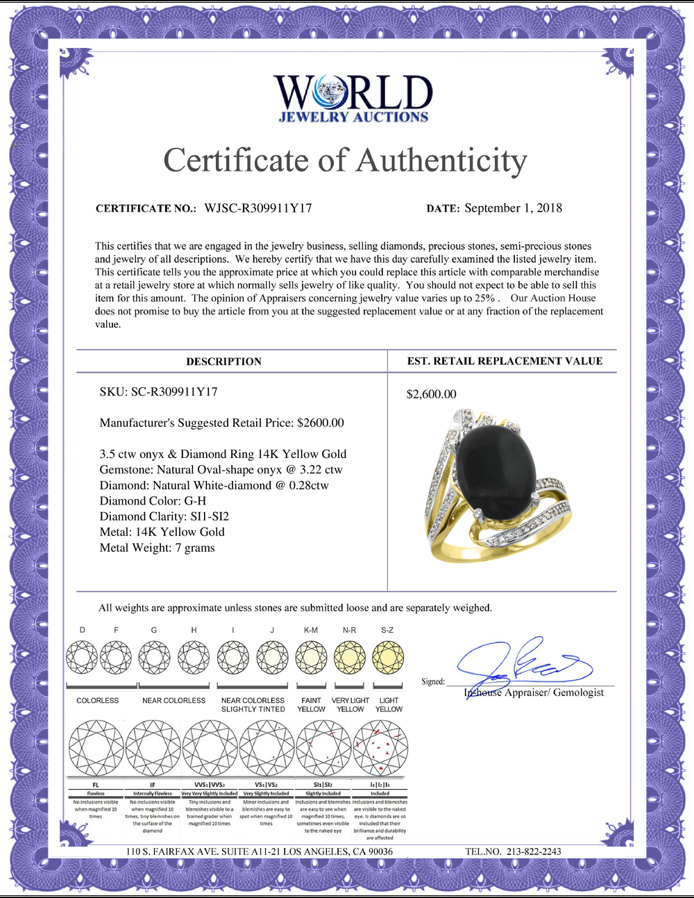 Lot 4087: Natural 3.5 ctw onyx & Diamond Engagement Ring 14K Yellow Gold - REF-86F5N