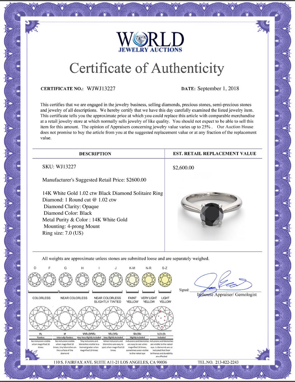 Lot 4096: 14K White Gold 1.02 ctw Black Diamond Solitaire Ring - REF-63N5W-WJ13227