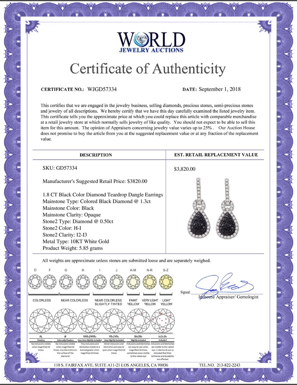 Lot 4100: 1.8 CTW Black Color Diamond Teardrop Dangle Earrings 10KT White Gold - REF-97X4Y