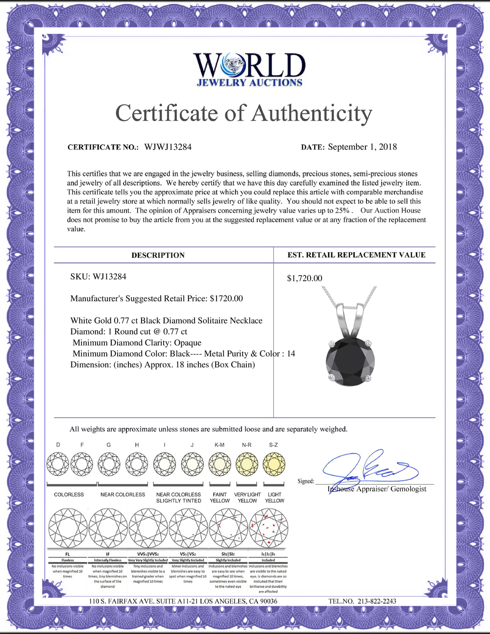 Lot 4103: 14K White Gold 0.77 ct Black Diamond Solitaire Necklace - REF-53X7F-WJ13284