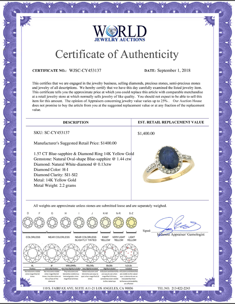 Lot 4109: Natural 1.57 ctw Blue-sapphire & Diamond Engagement Ring 14K Yellow Gold - REF-45N2G