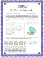 Lot 4117: Natural 6.53 ctw turquoise & Diamond Engagement Ring 14K Yellow Gold - REF-90W5K