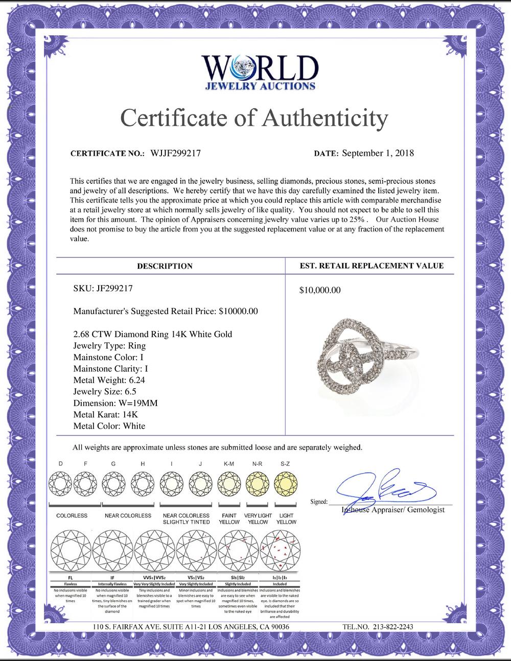 Lot 4123: 2.68 CTW Diamond Ring 14K White Gold - REF-131N4Y