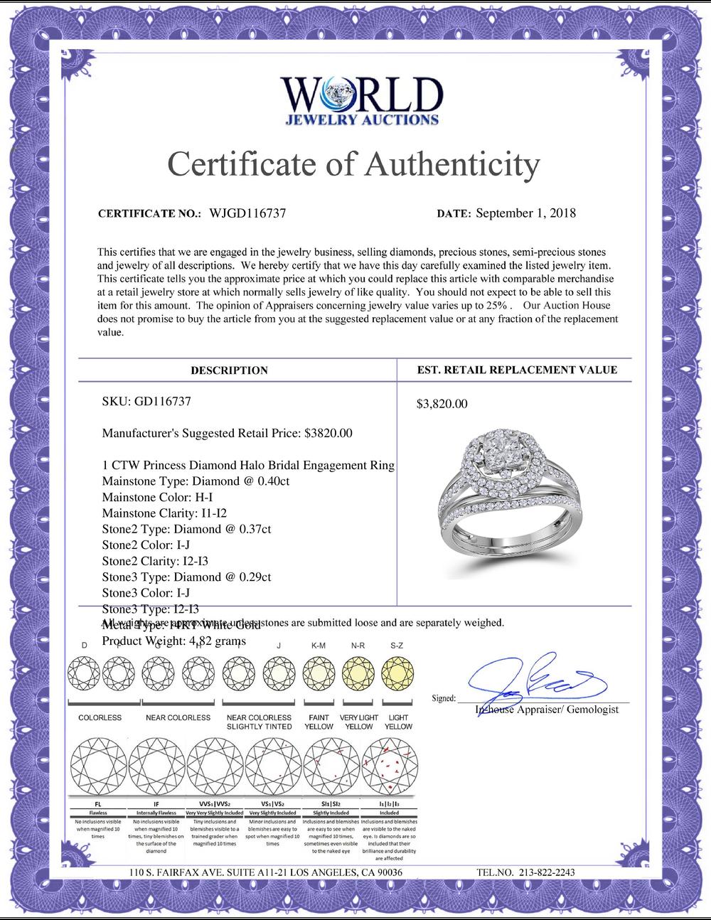 Lot 4126: 1 CTW Princess Diamond Halo Bridal Engagement Ring 14KT White Gold - REF-97H4M