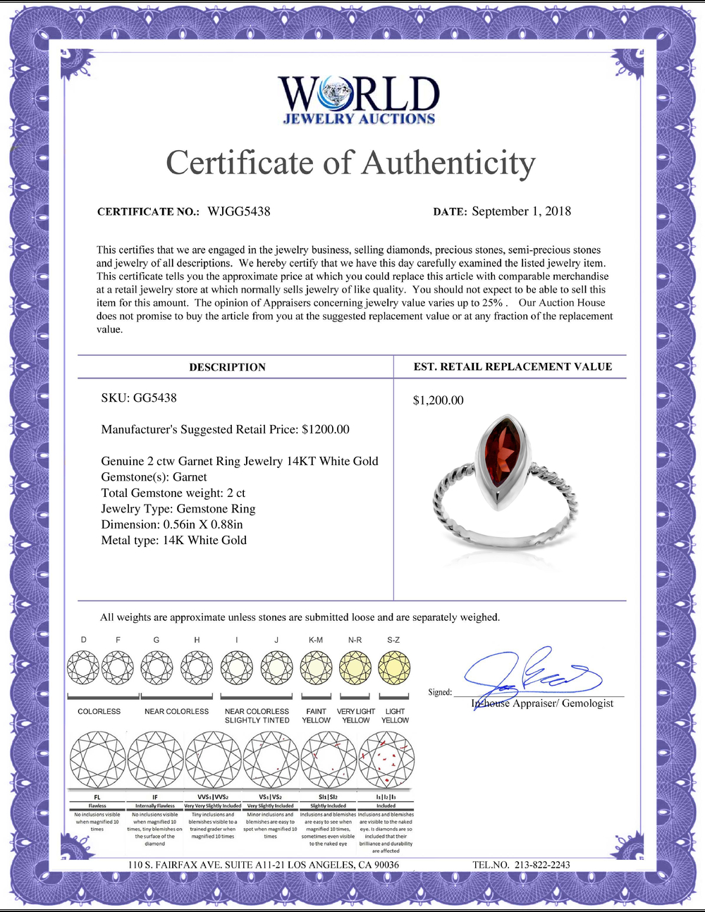 Lot 4127: Genuine 2 ctw Garnet Ring Jewelry 14KT White Gold - REF-39M3T