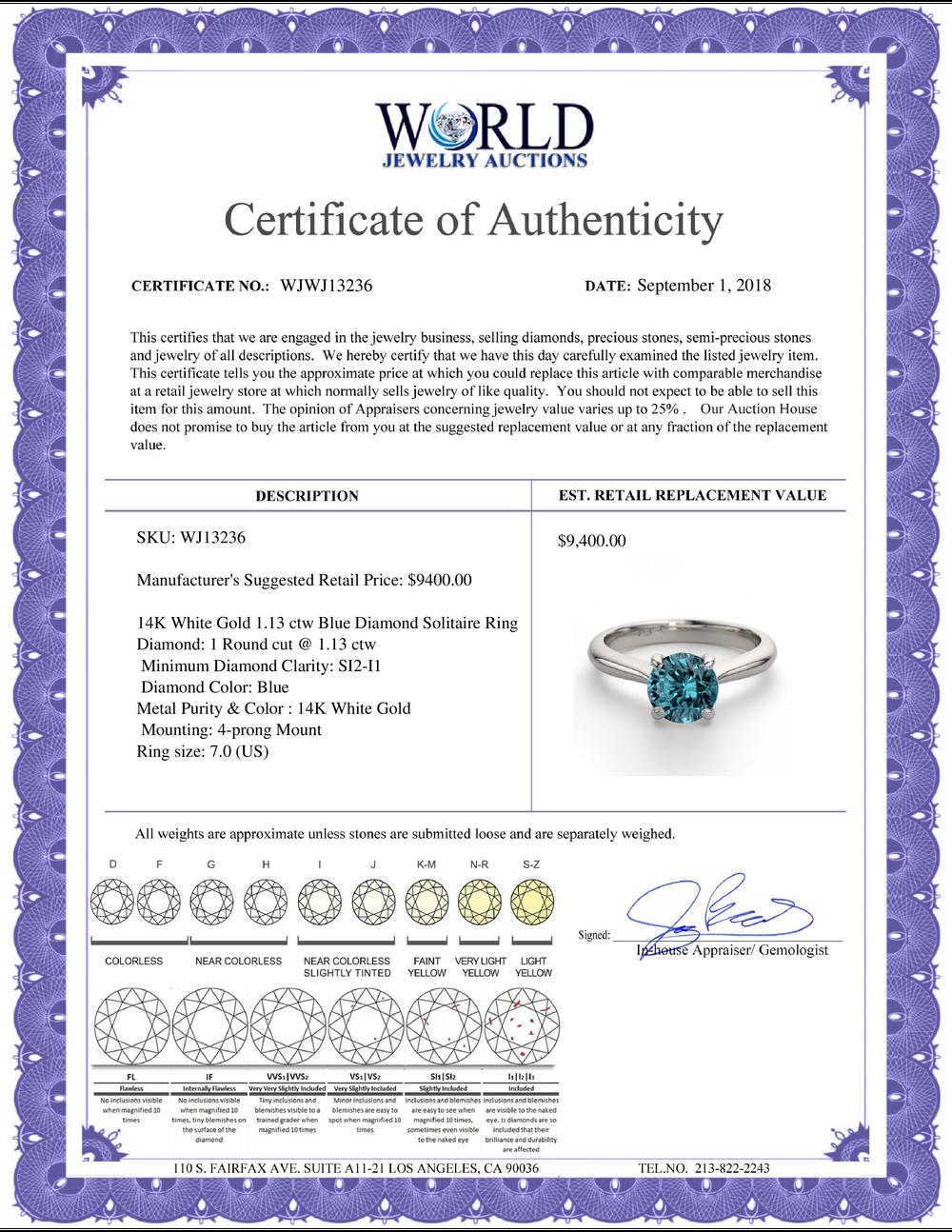 Lot 4147: 14K White Gold 1.13 ctw Blue Diamond Solitaire Ring - REF-183Y6X-WJ13236
