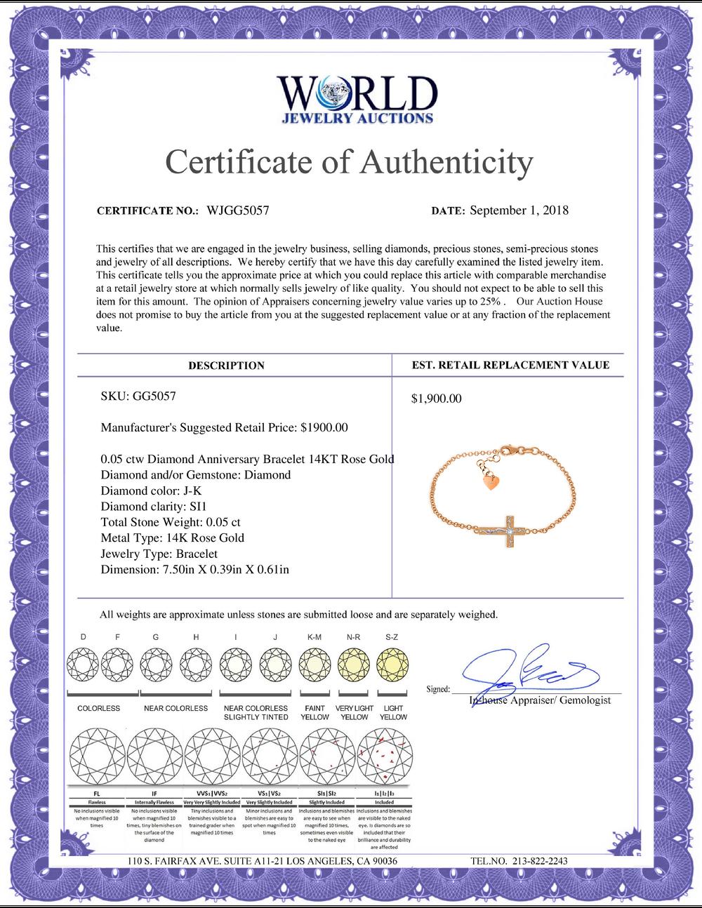 Lot 4149: Genuine 0.05 ctw Diamond Anniversary Bracelet Jewelry 14KT White Gold - REF-61Z8N