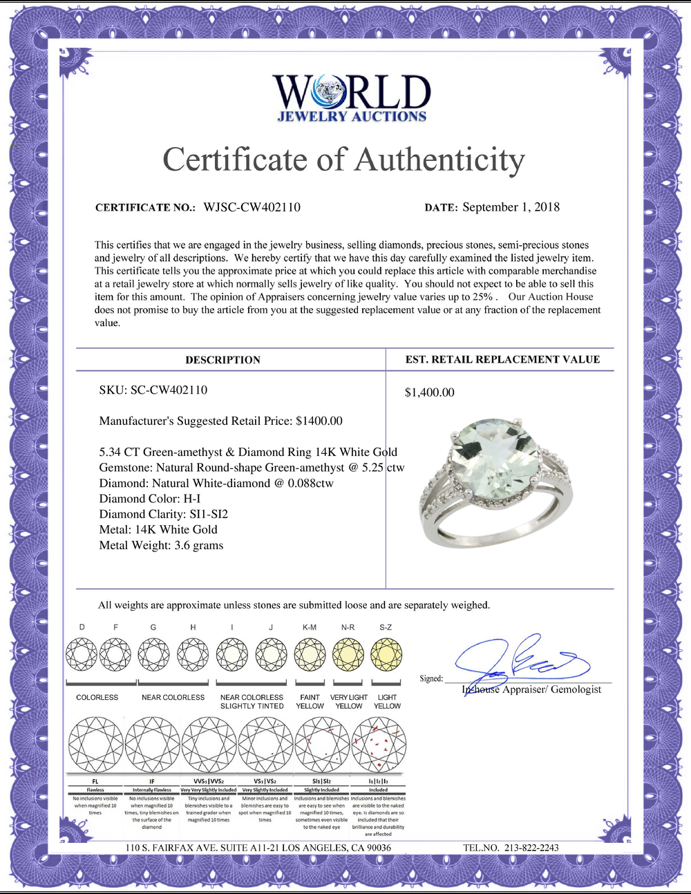 Lot 4161: Natural 5.34 ctw Green-amethyst & Diamond Engagement Ring 14K White Gold - REF-45H5W