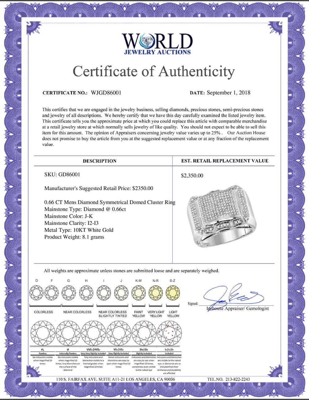 Lot 4163: 0.66 CTW Mens Diamond Symmetrical Domed Cluster Ring 10KT White Gold - REF-59N9F