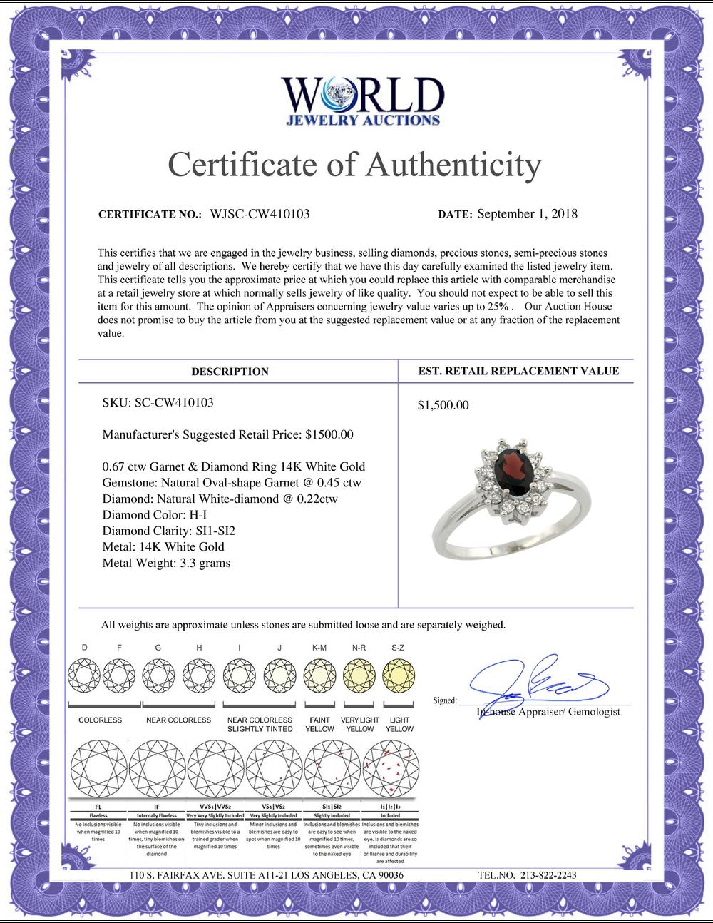 Lot 4168: Natural 0.67 ctw Garnet & Diamond Engagement Ring 14K White Gold - REF-48N6G