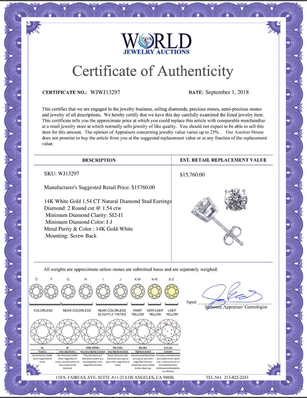 Lot 4176: 14K White Gold 1.54 ctw Natural Diamond Stud Earrings - REF-394F9N-WJ13297