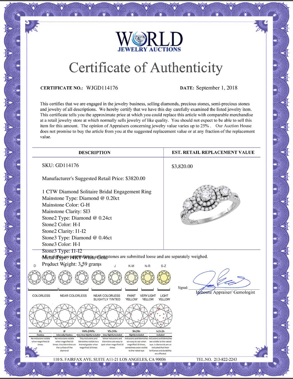 Lot 4178: 1 CTW Diamond Solitaire Bridal Engagement Ring 14KT White Gold - REF-97H4M