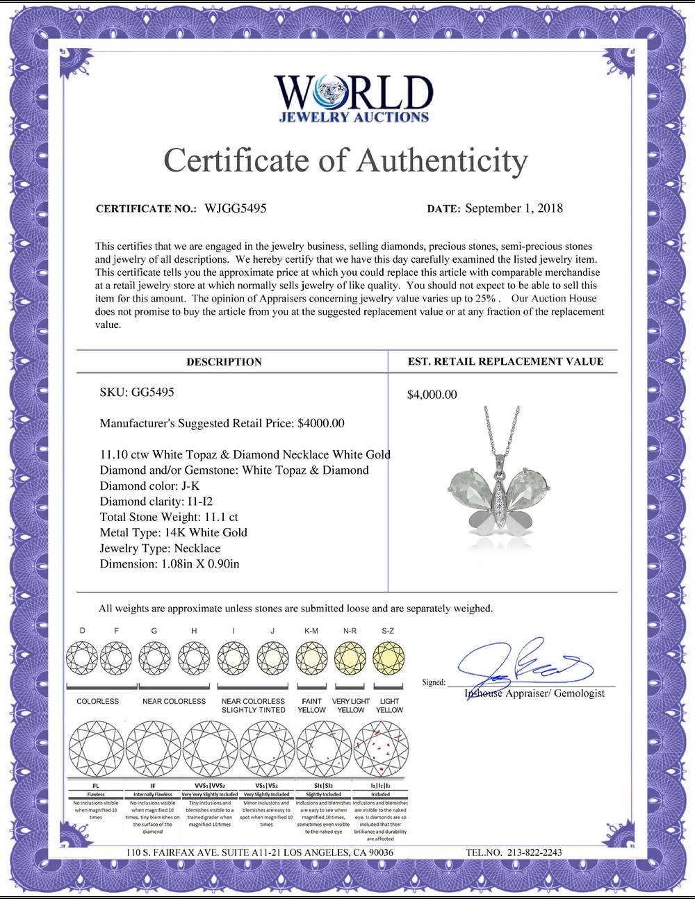 Lot 4179: Genuine 11.10 ctw White Topaz & Diamond Necklace Jewelry 14KT White Gold - REF-130N2R