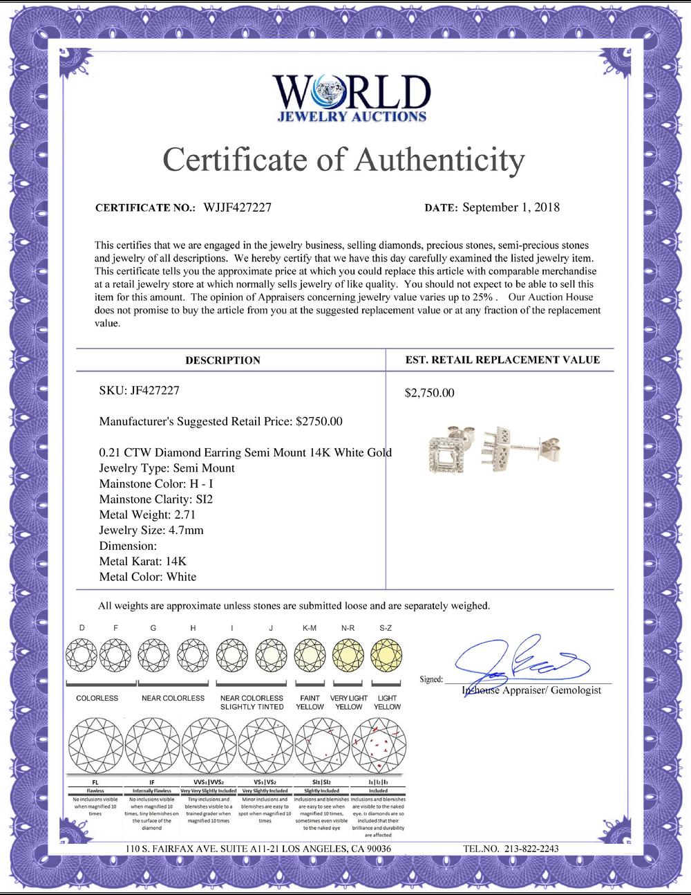 Lot 4183: 0.21 CTW Diamond Earrings 14K White Gold - REF-34H2M