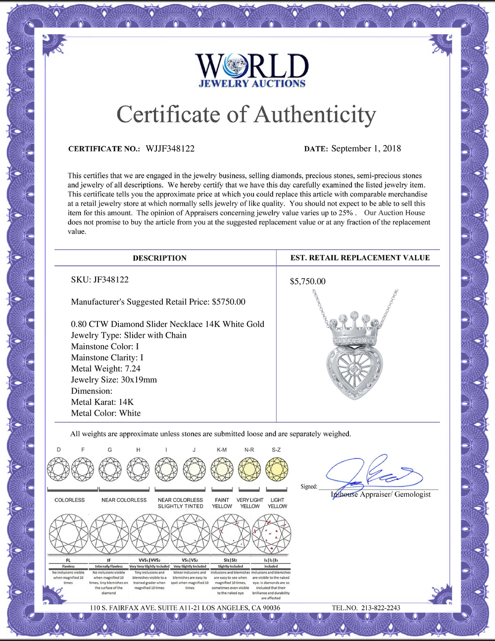 Lot 4186: 0.80 CTW Diamond Necklace 14K White Gold - REF-75N5Y
