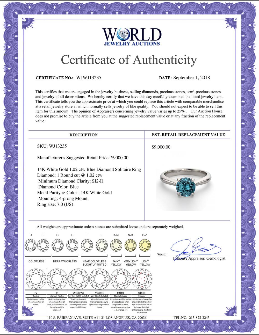 Lot 4192: 14K White Gold 1.02 ctw Blue Diamond Solitaire Ring - REF-173N5W-WJ13235