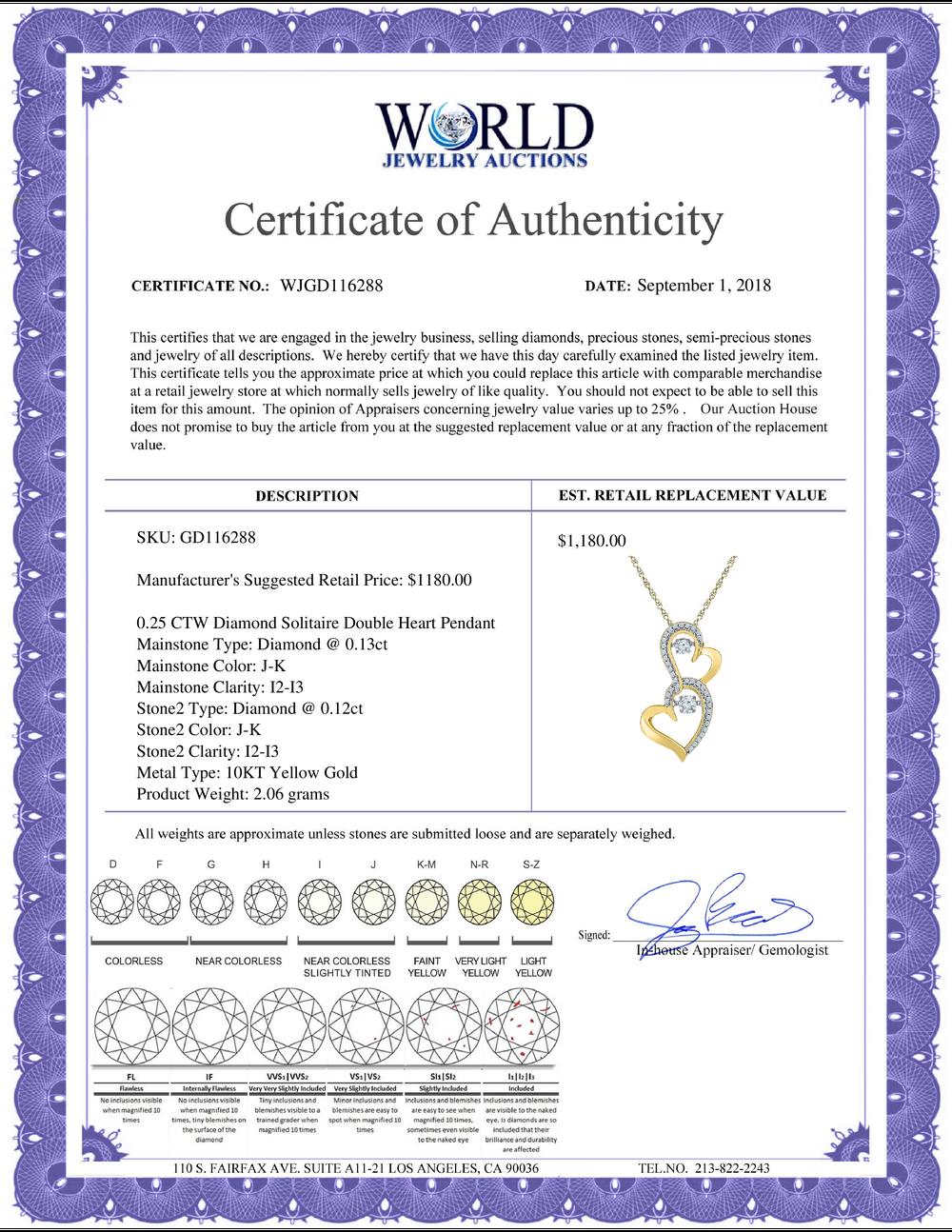 Lot 4193: 0.25 CTW Diamond Solitaire Double Heart Pendant 10KT Yellow Gold - REF-30W2K