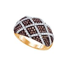 1.34 CTW Cognac-brown Colored Diamond Striped Cocktail Ring 10K Rose Gold - REF-99Y9V