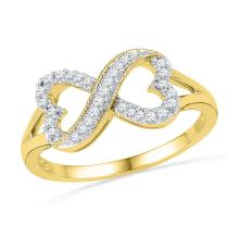 0.16 CTW Natural Diamond Infinity Band 10K Yellow Gold - REF-19Y9V