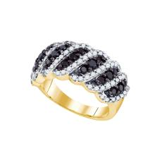 1.45 CTW Black Colored Diamond Striped Band 10K Yellow Gold - REF-115Y9V