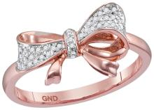 0.07 CTW Natural Diamond Cluster Ribbon Knot Bow Ring 10K Rose Gold - REF-24Y2V