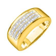 0.5 CTW Mens Princess Natural Diamond Anniversary Band 14K Yellow Gold - REF-105Y9V