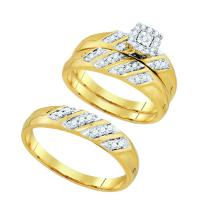 0.28 CTW His & Hers Natural Diamond Solitaire Matching Bridal Ring 10K Yellow Gold - REF-51Y9V