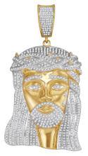 2.55 CTW Mens Natural Diamond Jesus Christ Messiah Charm Pendant 10K Yellow Gold - REF-239V9T