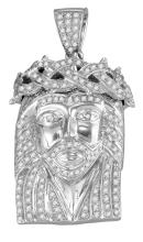 0.6 CTW Mens Natural Diamond Jesus Christ Messiah Charm Pendant 10K White Gold - REF-114V9T