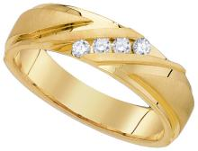 0.15 CTW Mens Natural Diamond Channel-set Anniversary Band 10K Yellow Gold - REF-50V2T