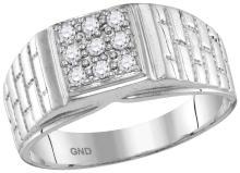 0.25 CTW Mens Natural Diamond Square Cluster Brick Ring 10K White Gold - REF-45V3T