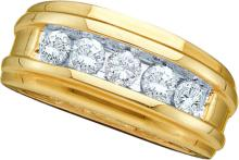 1 CTW Mens Natural Diamond Band 14K Yellow Gold - REF-199V9T