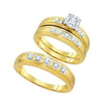 0.28 CTW Diamond Mens Matching Trio Bridal Ring 10K Yellow Gold - REF-55V9T