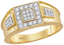 0.5 CTW Mens Natural Diamond Square Cluster Masculine Band 14K Yellow Gold - REF-89V9T