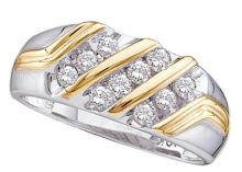 0.5 CTW Mens Natural Diamond Band 10K Multi-Tone Gold - REF-50V2T