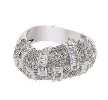 14K WhiteGold 1.73CTW Baguette Fashion Ring - REF-213A6N