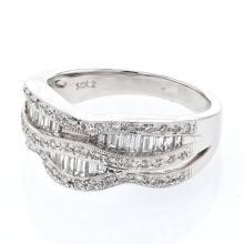 Baguette & Round Channel & Prong-set Diamond Ring in 14K White Gold - REF-118K3R
