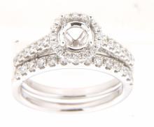14K White 0.7CTW Ladies Diamond Ring - REF-115A6N