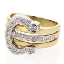 18K Two Tone Gold 0.41CTW Diamond Fashion Ring - REF-113F5M