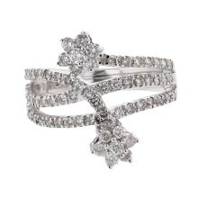 18K White Gold 0.96CTW Diamond Fashion Ring - REF-122Y3X
