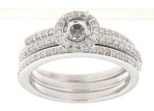 14K White Gold 0.58CTW Diamond Wedding Ring Set - REF-122A5N