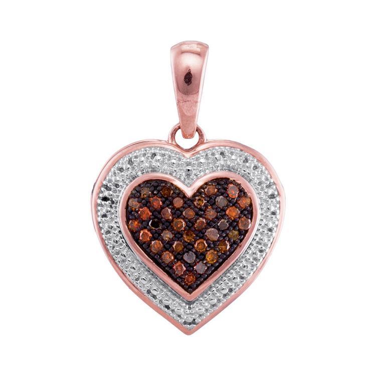 0.12 CTW Red Color Diamond Heart Love Pendant 10KT Rose Gold - REF-14N9F