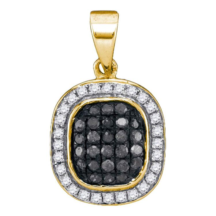 0.25 CTW Black Color Diamond Square Cluster Pendant 10KT Yellow Gold - REF-14X9Y